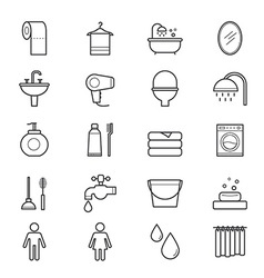 Bathroom and toilet icons line vector