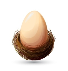 Bird nest with egg vector