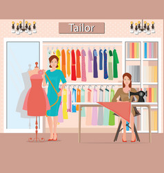 Boutique indoor of womans cloths fashion vector