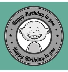 Boy cartoon happy birthday vector