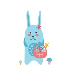 Bunny picking flowers vector