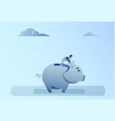 Business man sitting on piggy bank money savings vector