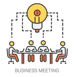 Business meeting line icons vector
