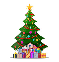 christmas tree decorated and gift boxes vector image