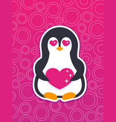 Emoji sticker with pinguin in love vector