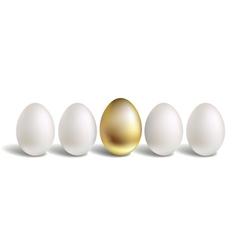 Gold Egg Concept White and unique golden eggs vector image