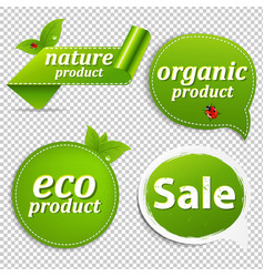 Green set eco tags vector