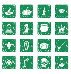 Halloween icons set grunge vector