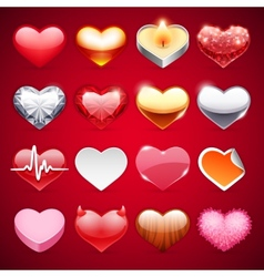 Icons Hearts Set vector image vector image