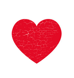 Isoltted distress grunge heart with cracked vector