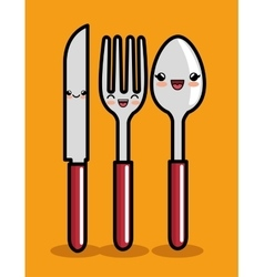 Kawaii knife spoon and fork icon design vector