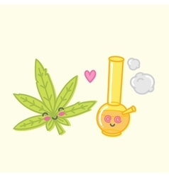 Kawaii weed love bong vector image