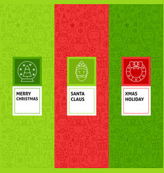 line christmas patterns set vector image