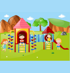 many kids at playground at daytime vector image
