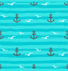 marine pattern seamless anchors gull icons and vector image vector image