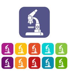 Microscope icons set vector