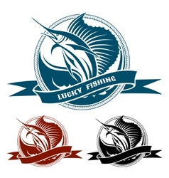 Nautical retro label with jumping sail fish vector