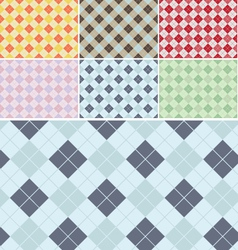 Plaid Pattern Seamless Set vector image vector image