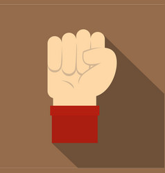 raised up clenched male fist icon flat style vector image