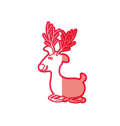 Red silhouette caricature of funny reindeer lazy vector