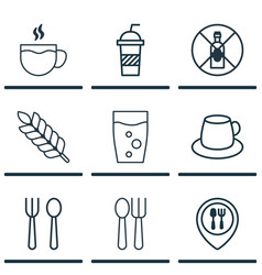 Set of 9 restaurant icons includes soda soda vector