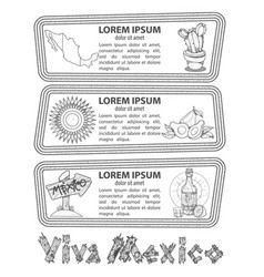 Set of banners on a mexican theme labels for vector