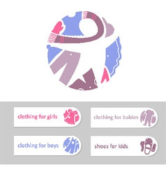 Shop childrens clothing and shoes Visual vector image