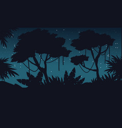 silhouette jungle at night with big tree landscape vector image