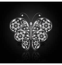 Silver butterfly with floral pattern vector image vector image