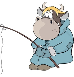 Small cow-fisherman cartoon vector