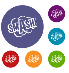 Smash comic book bubble text icons set vector