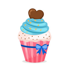 sweet cupcake with blue frosting vector image vector image