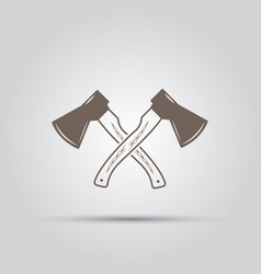 two crossed hatchets isolated elements vector image