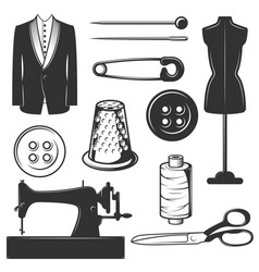 vintage tailor icons symbols set vector image vector image