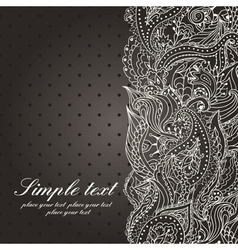 Wedding invitation with lace paisley pattern vector