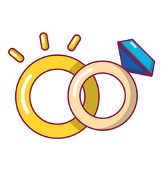 Wedding rings icon cartoon style vector