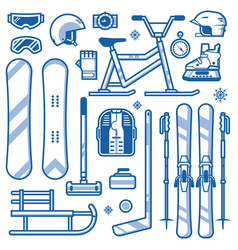 winter sports and activities equipment icons vector image