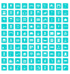 100 comfortable house icons set grunge blue vector image vector image