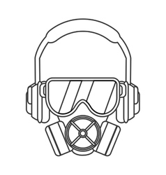 Gas mask with protection goggles and isolation vector