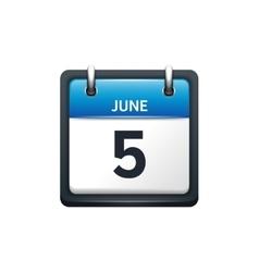 June 5 Calendar icon flat vector image