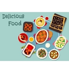 Dinner with fruit and chocolate desserts icon vector image