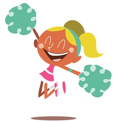 Blond cheerleader jumping and cheering vector