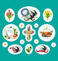 Easter egg cartoon sticker and label set design vector
