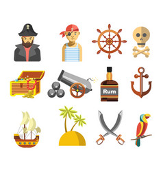 Pirate colorful symbols on white flat vector