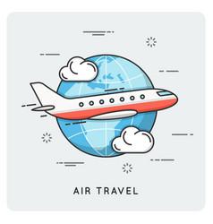 Air travel thin line concept vector