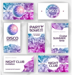 Set of geometric disco visiting card vector