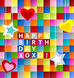 Birthday card-colorful squares vector