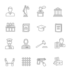 Justice outline icon set vector