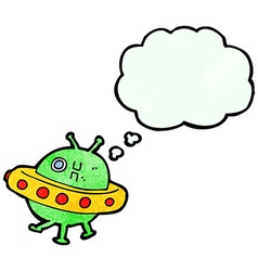 Cartoon ufo with thought bubble vector