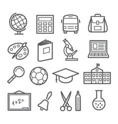 School and education line icons vector